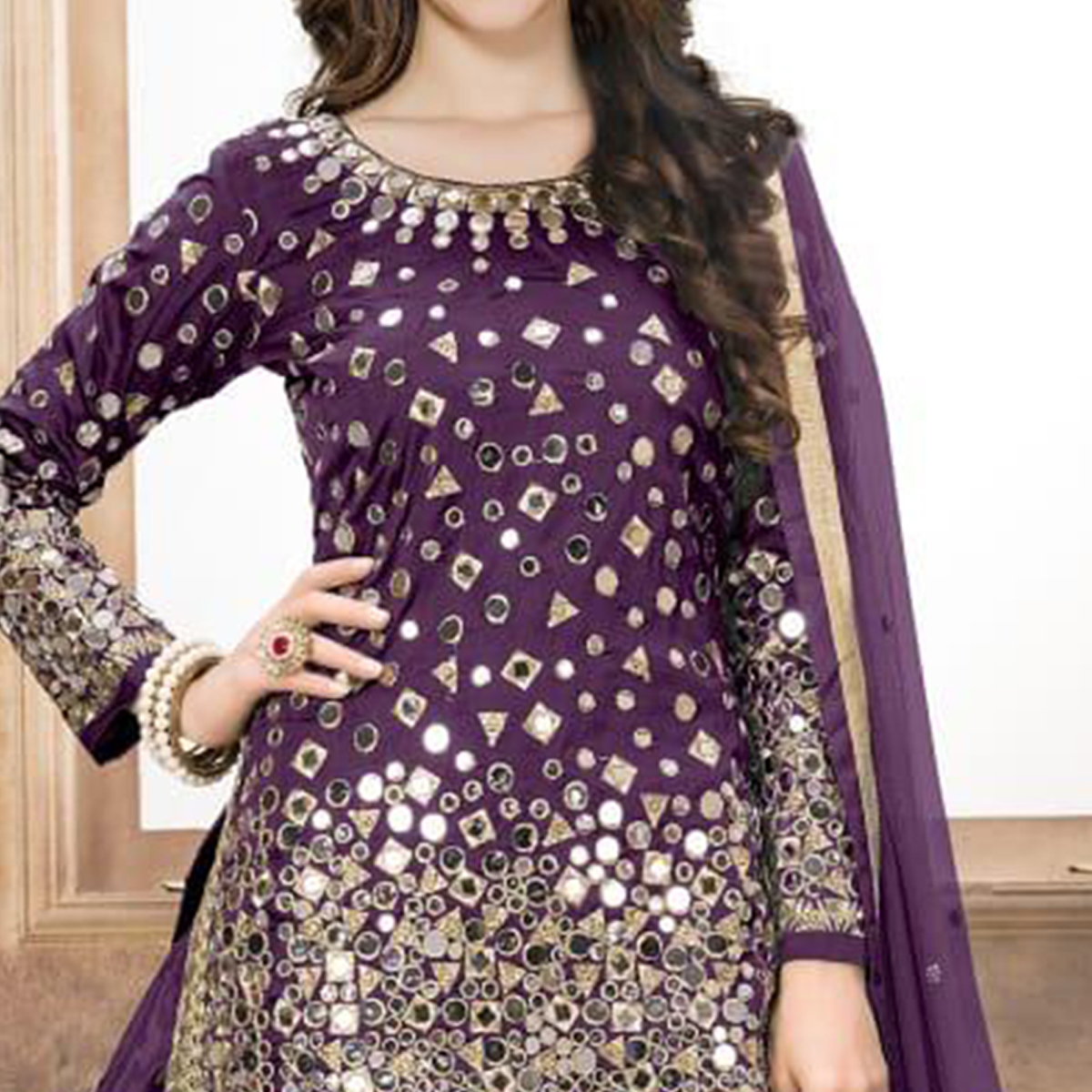 Classy Purple Colored Partywear Embroidered Tapeta Silk Patiala Suit