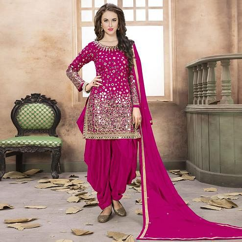 Amazing Magenta Pink Colored Partywear Embroidered Tapeta Silk Patiala Suit
