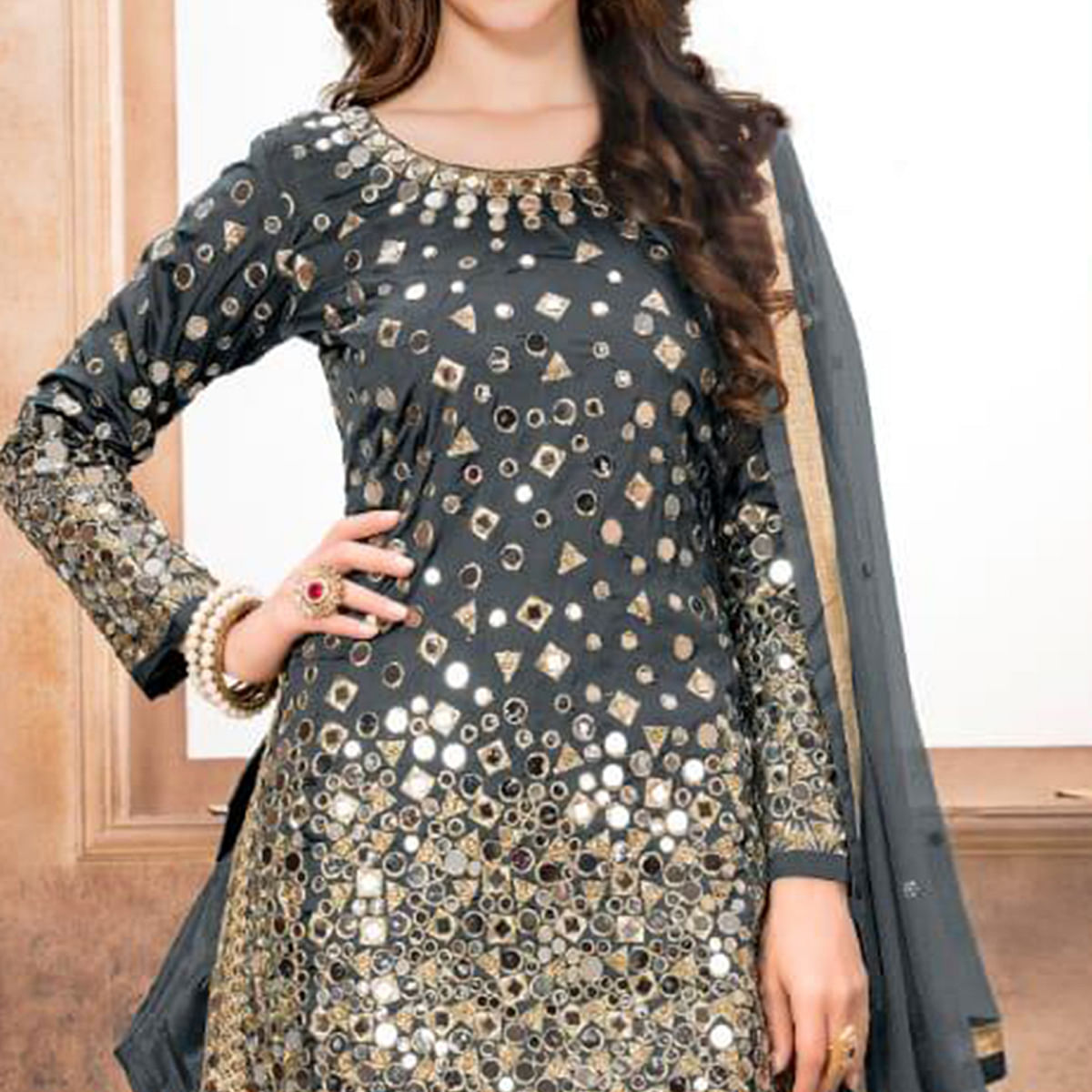 Trendy Gray Colored Partywear Embroidered Tapeta Silk Patiala Suit