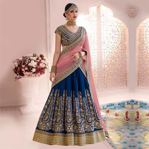 Classy Blue-Pink Designer Embroidered Phantam Silk Lehenga Choli