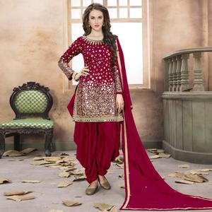 Lovely Red Colored Partywear Embroidered Tapeta Silk Patiala Suit
