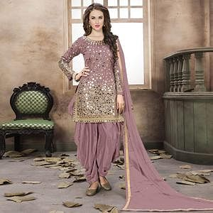Unique Mauve Colored Partywear Embroidered Tapeta Silk Patiala Suit