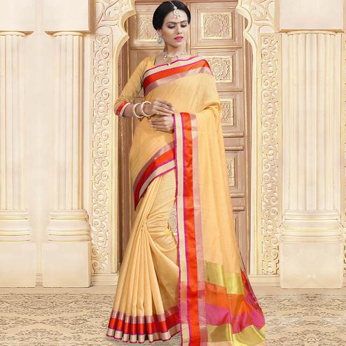 Staring Beige Colored Festive Wear Woven Chanderi Silk Saree