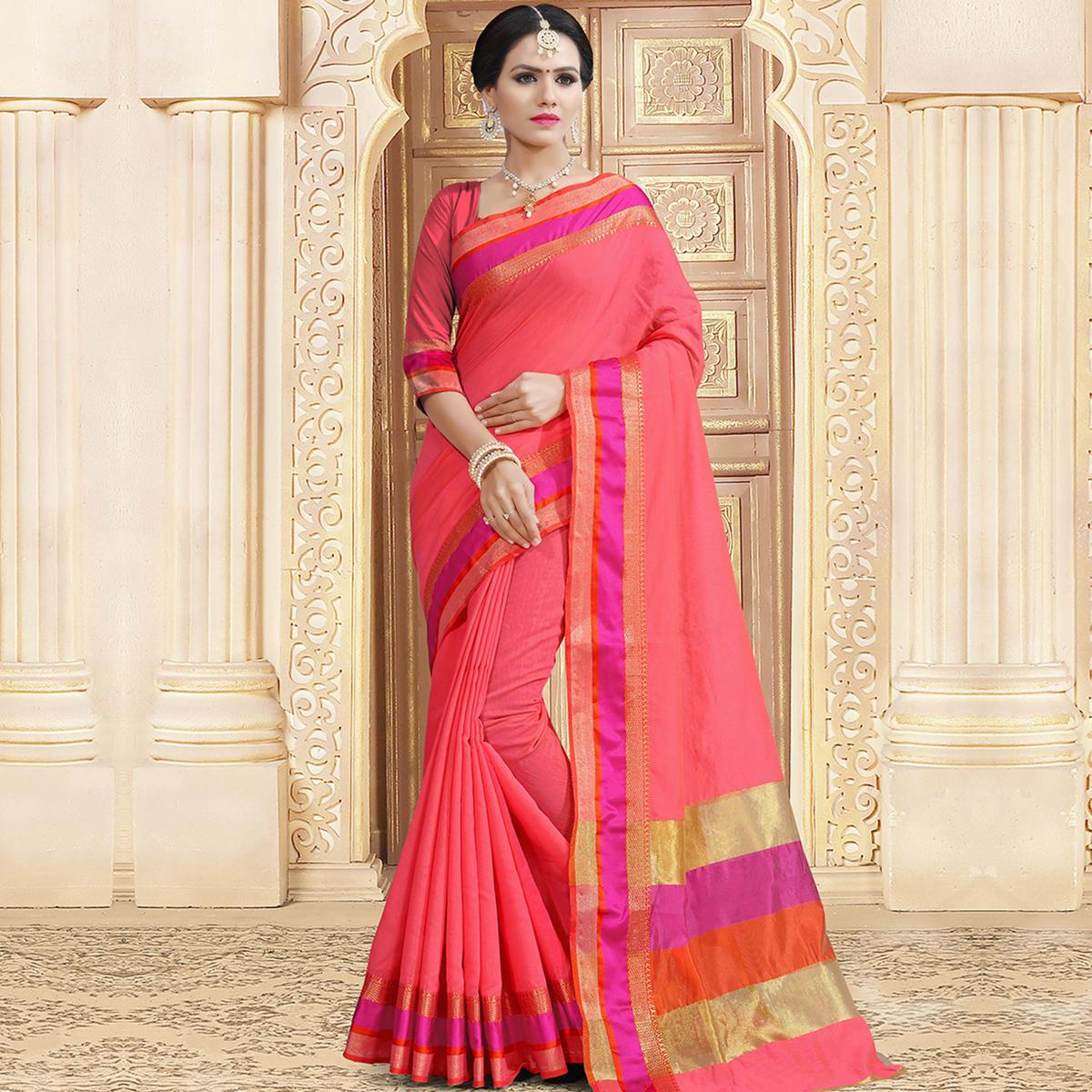 Appealing Pink Colored Festive Wear Woven Chanderi Silk Saree