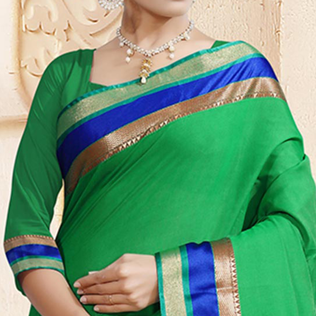Impressive Green Colored Festive Wear Woven Chanderi Silk Saree