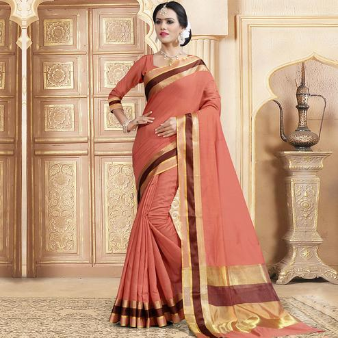 Adorable Peach Colored Festive Wear Woven Chanderi Silk Saree
