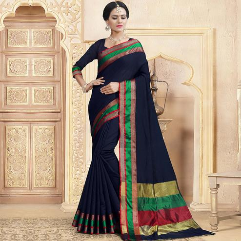 Classy Navy Blue Colored Festive Wear Woven Chanderi Silk Saree
