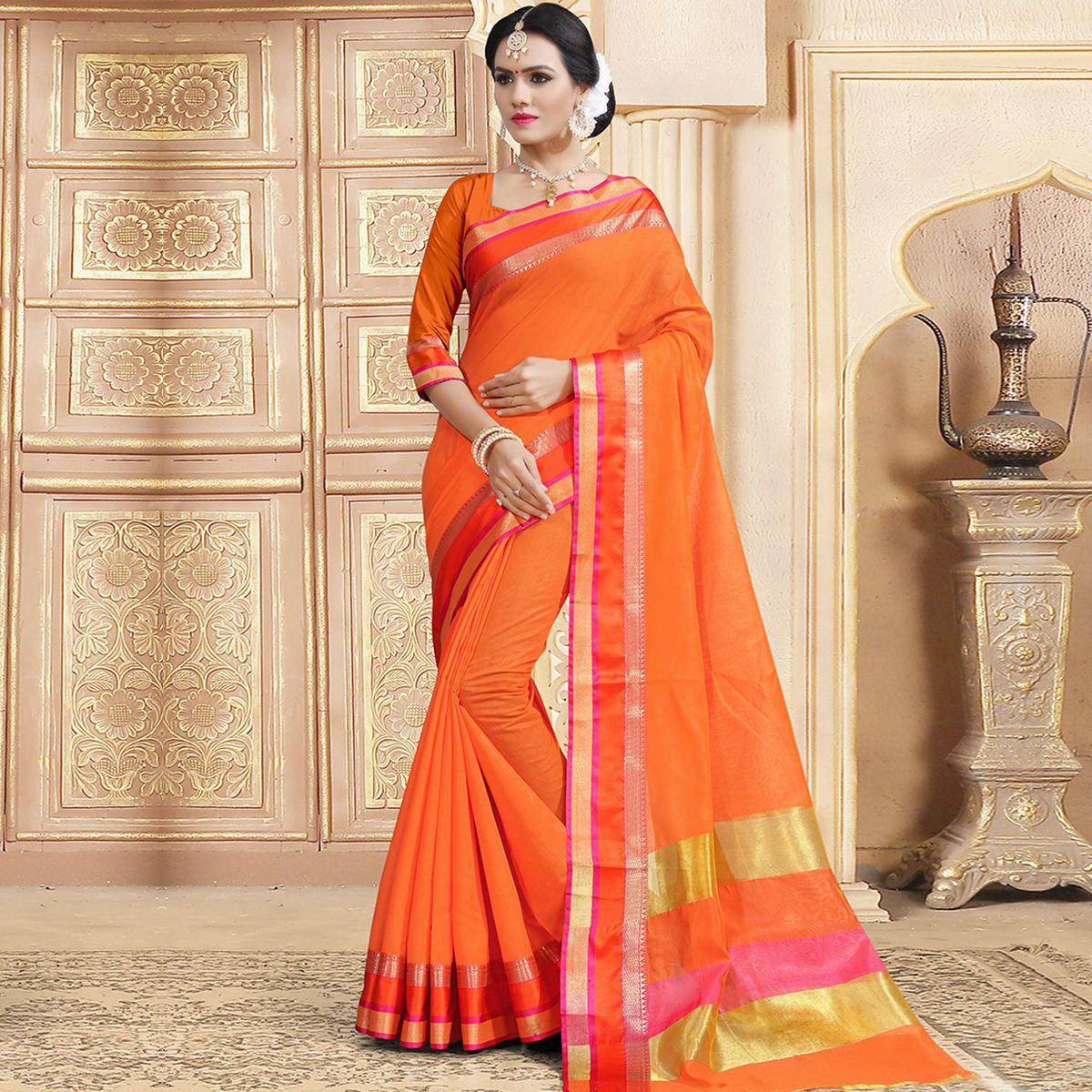 Groovy Orange Colored Festive Wear Woven Chanderi Silk Saree