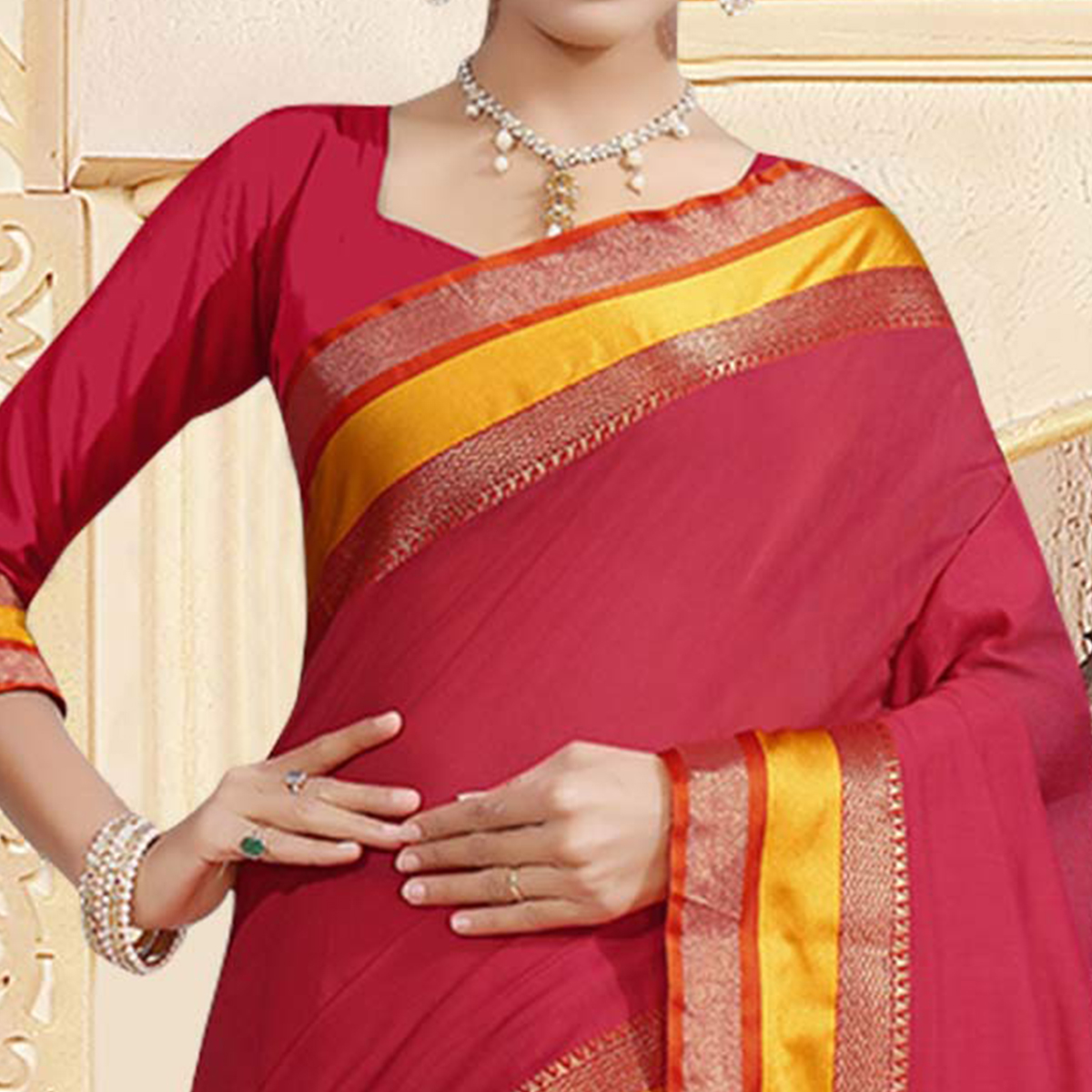 Mesmeric Deep Pink Colored Festive Wear Woven Chanderi Silk Saree