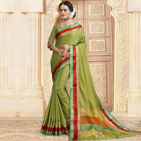 Exceptional Olive Green Colored Festive Wear Woven Chanderi Silk Saree