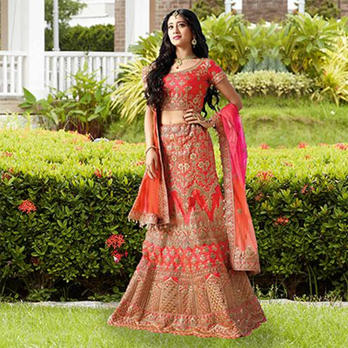 Ravishing Red Designer Embroidered Phantam Silk Lehenga Choli