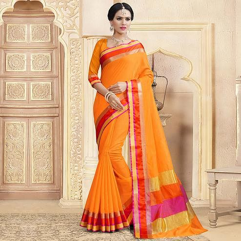 Unique Orange Colored Festive Wear Woven Chanderi Silk Saree