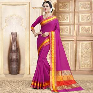 Eye-Catching Violet Colored Festive Wear Woven Chanderi Silk Saree