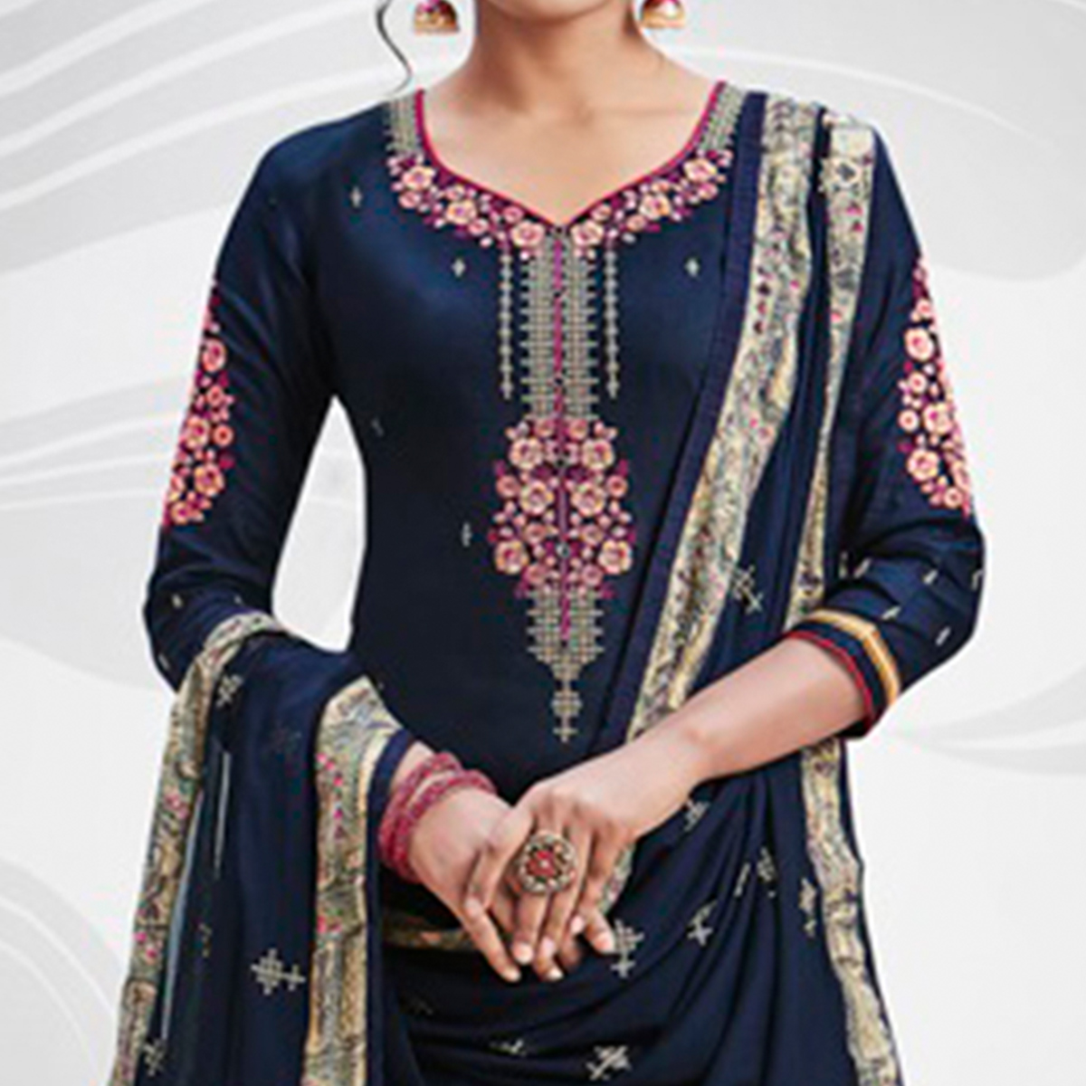Stunning Navy Blue Colored Partywear Embroidered Art Silk Palazzo Suit