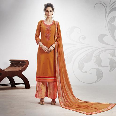 Marvellous Orange Colored Partywear Embroidered Art Silk Palazzo Suit