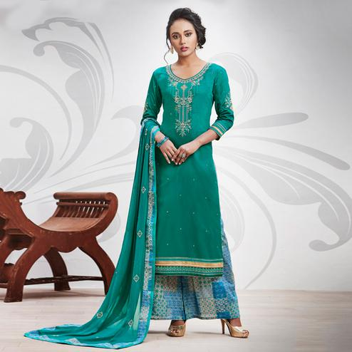 Amazing Turquoise Green Colored Partywear Embroidered Art Silk Palazzo Suit