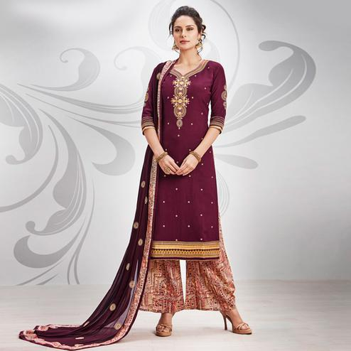 Gorgeous Wine Colored Partywear Embroidered Art Silk Palazzo Suit