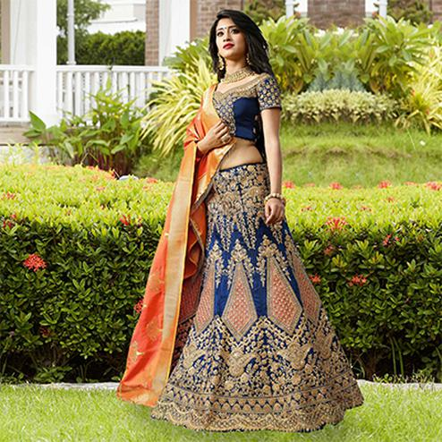Royal Blue Designer Embroidered Phantam Silk Lehenga Choli