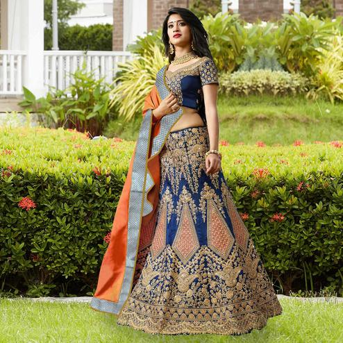 Royal Blue Designer Embroidered Phantom Silk Lehenga Choli