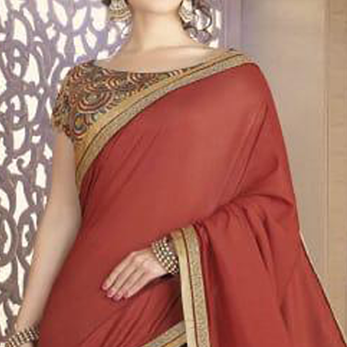 Pleasant Rust Red & Grey Colored Partywear Embroidered Silk Saree.