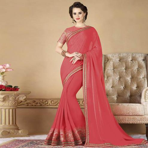 Unique Pink Colored Partywear Embroidered Silk Saree.