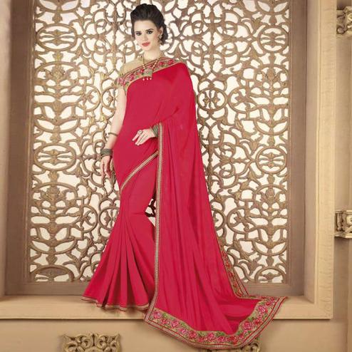 Alluring Deep Pink Colored Partywear Embroidered Silk Saree.