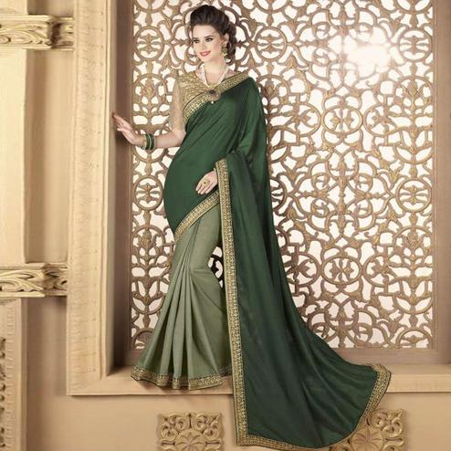 Radiant Olive Green Colored Partywear Embroidered Silk Saree.