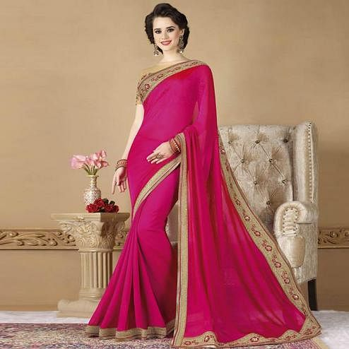 Opulent Rani Pink Colored Partywear Embroidered Silk Saree.