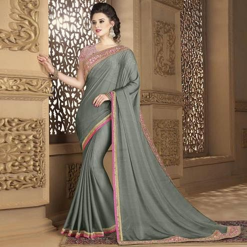 Flattering Grey Colored Partywear Embroidered Chiffon Saree.