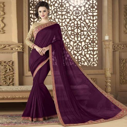 Breathtaking Dark Purple Colored Partywear Embroidered Art Silk Saree.
