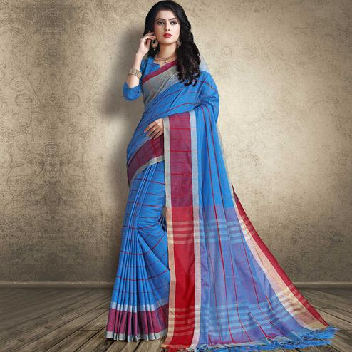 Glowing Blue Colored Festive Wear Linen Silk Saree