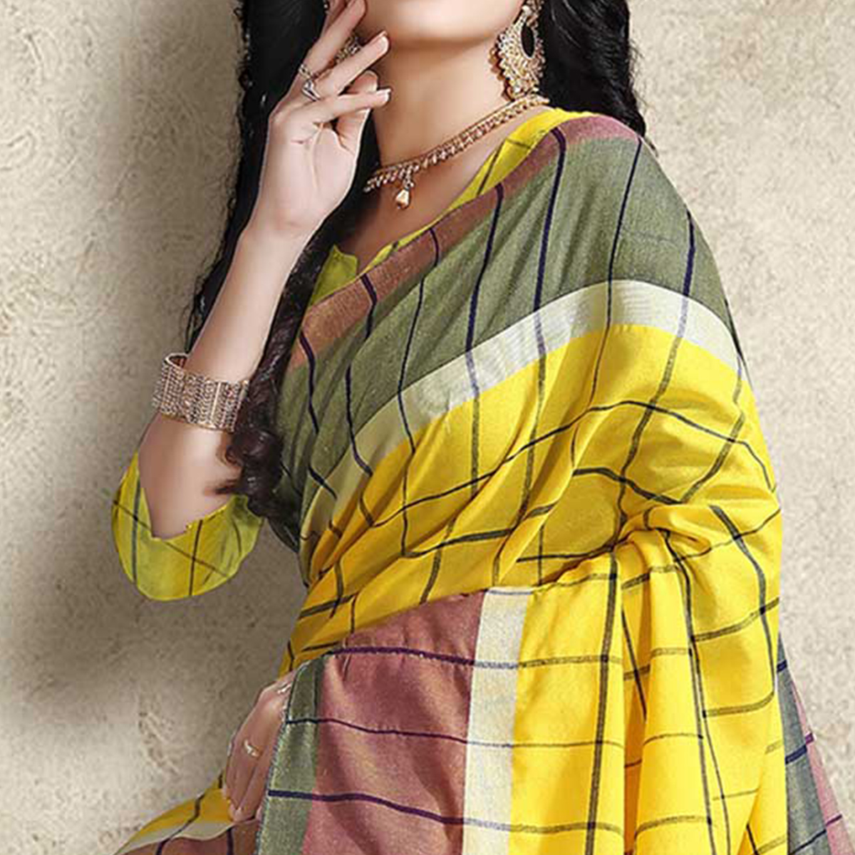 Blooming Yellow Colored Festive Wear Linen Silk Saree