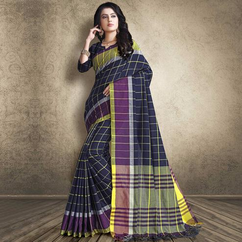 Appealing Navy Blue Colored Festive Wear Linen Silk Saree