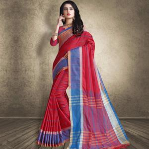 Impressive Red Colored Festive Wear Linen Silk Saree