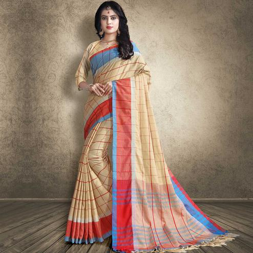 Pleasant Beige Colored Festive Wear Linen Silk Saree