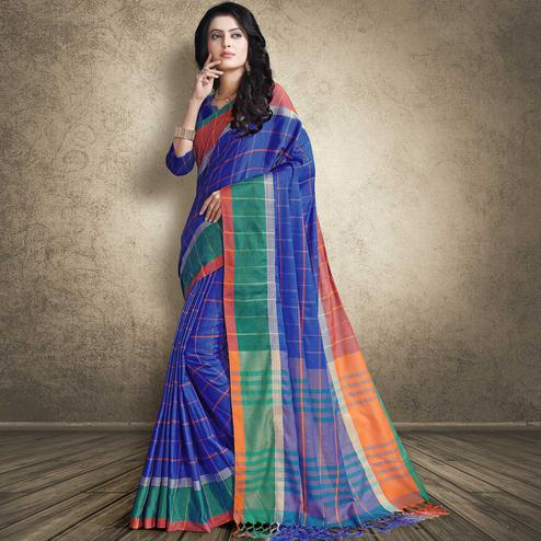 Gorgeous Blue Colored Festive Wear Linen Silk Saree