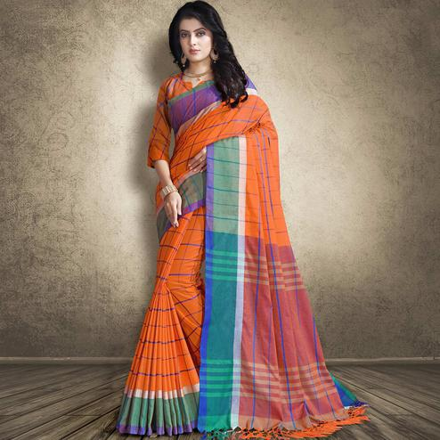 Elegant Orange Colored Festive Wear Linen Silk Saree