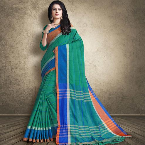 Trendy Turquoise Green Colored Festive Wear Linen Silk Saree