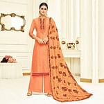 Amazing Peach Colored Partywear Embroidered Uppada Silk Palazzo Suit