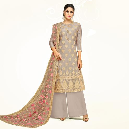 Attractive Light Gray Colored Partywear Embroidered Uppada Silk Palazzo Suit