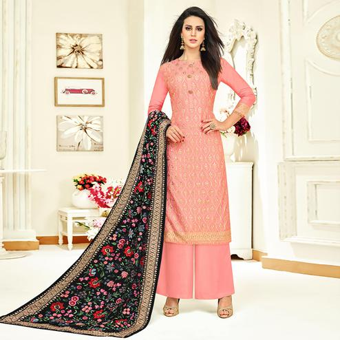 Stunning Pink Colored Partywear Embroidered Uppada Silk Palazzo Suit