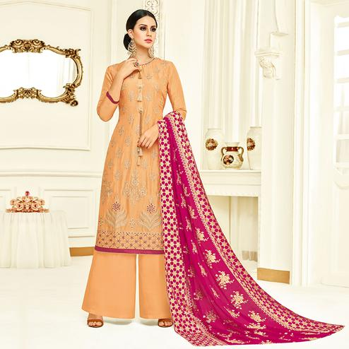 Sophisticated Light Orange Colored Partywear Embroidered Uppada Silk Palazzo Suit