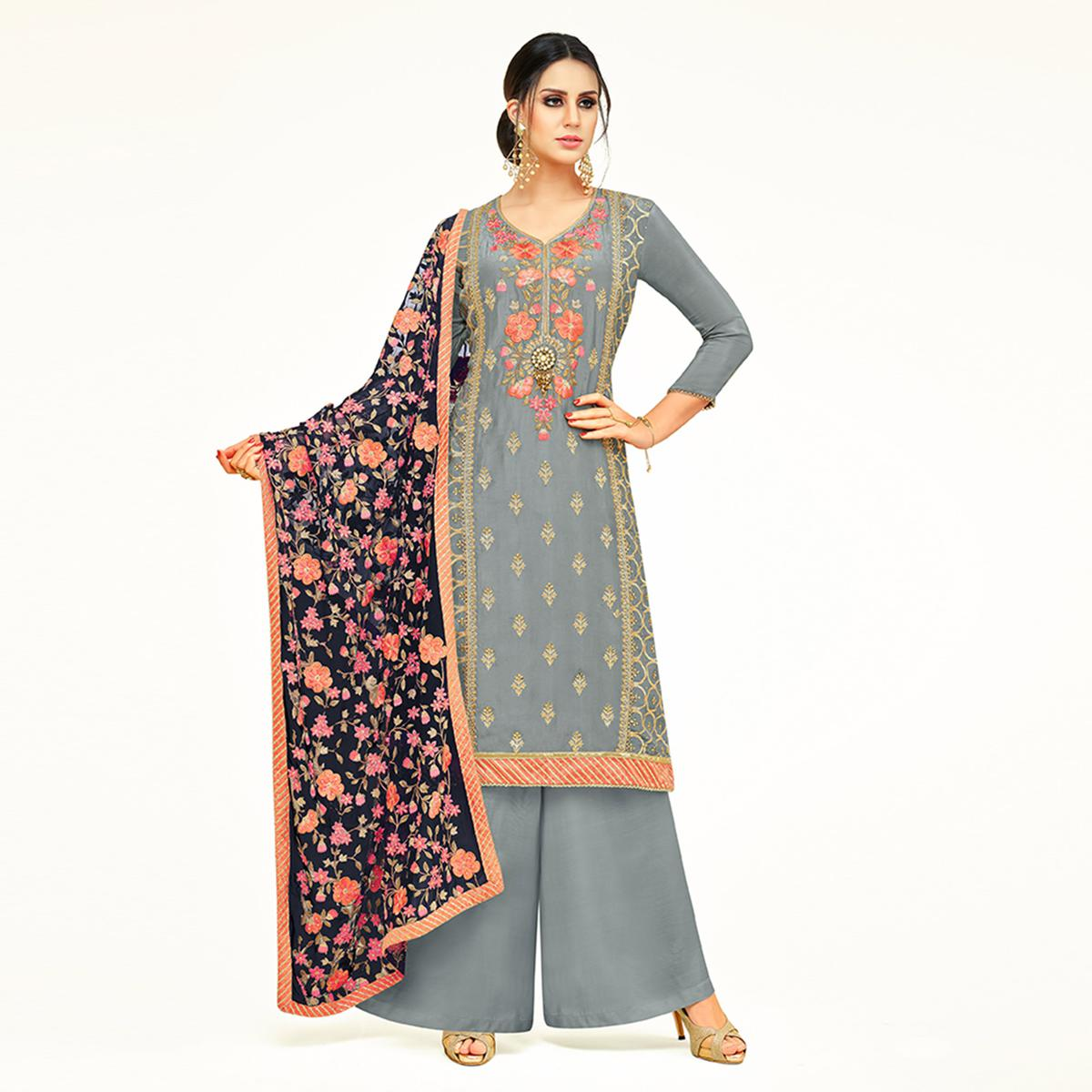 Eye-Catching Gray Colored Partywear Embroidered Uppada Silk Palazzo Suit