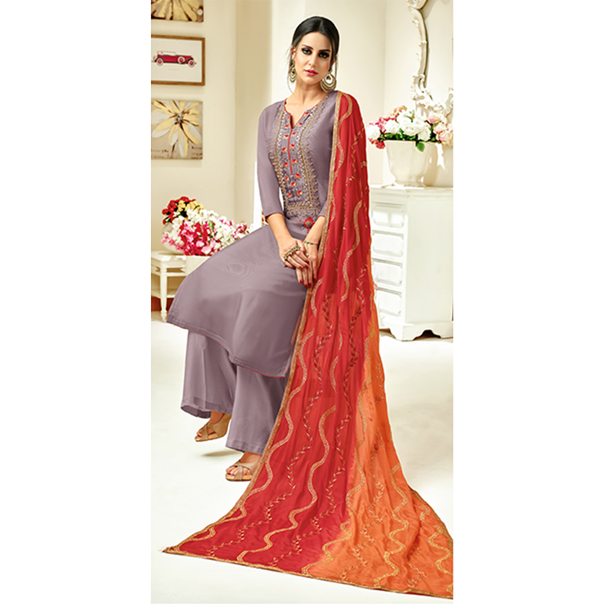 Unique Light Purple Colored Partywear Embroidered Uppada Silk Palazzo Suit