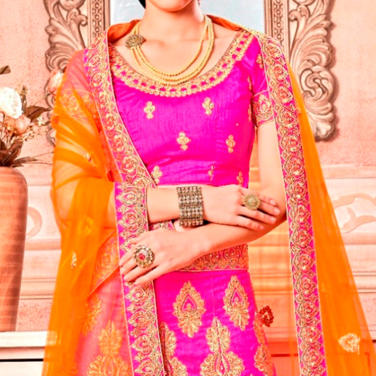 Eye-Catching Pink Colored Partywear Embroidered Banglori Silk Lehenga Choli