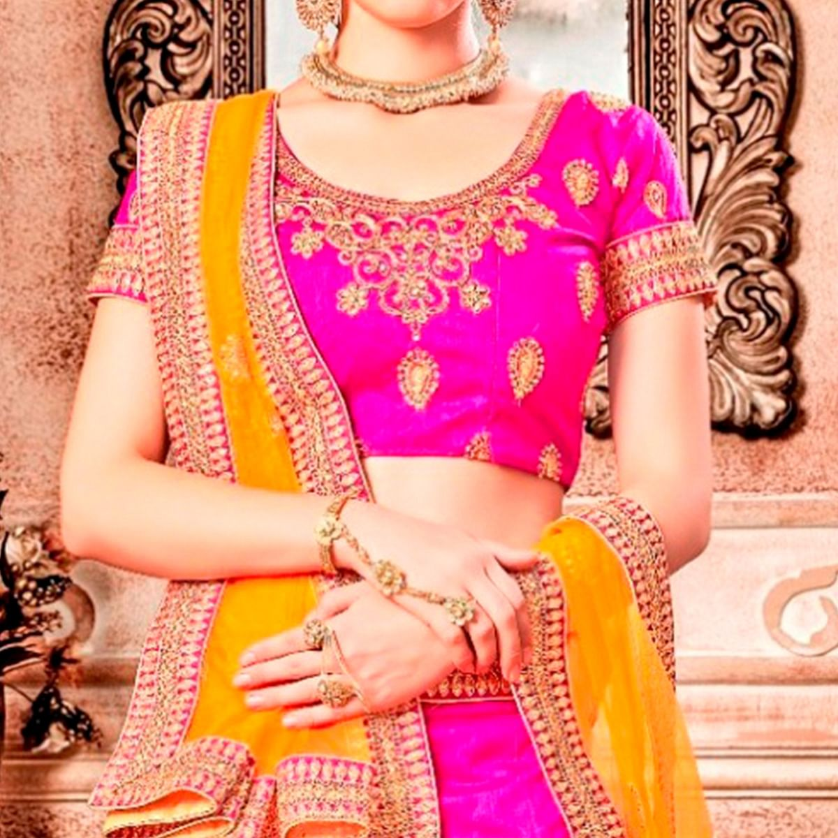 Attractive Pink Colored Partywear Embroidered Banglori Silk Lehenga Choli