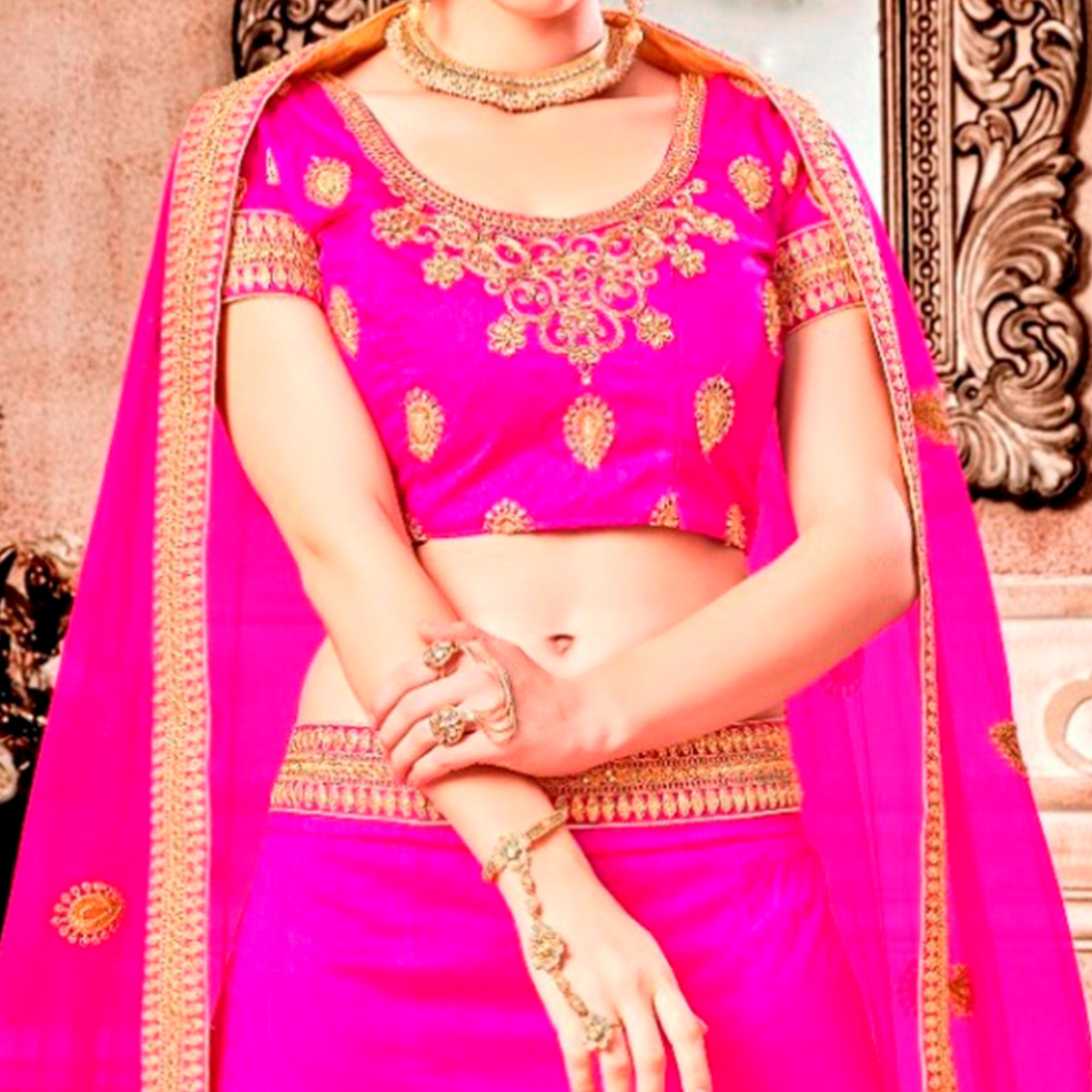 Gorgeous Pink Colored Partywear Embroidered Banglori Silk Lehenga Choli