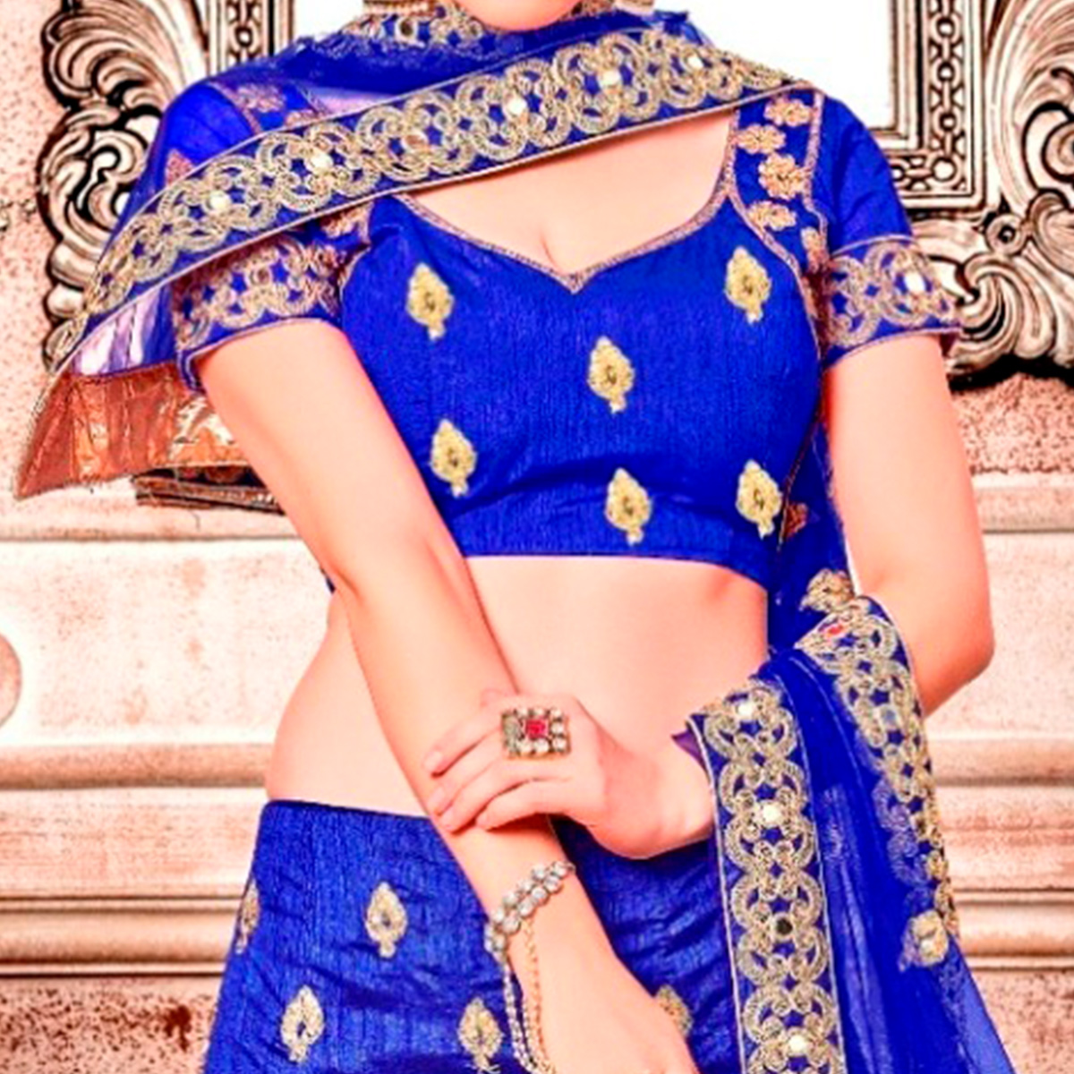Superb Blue Colored Partywear Embroidered Banglori Silk Lehenga Choli