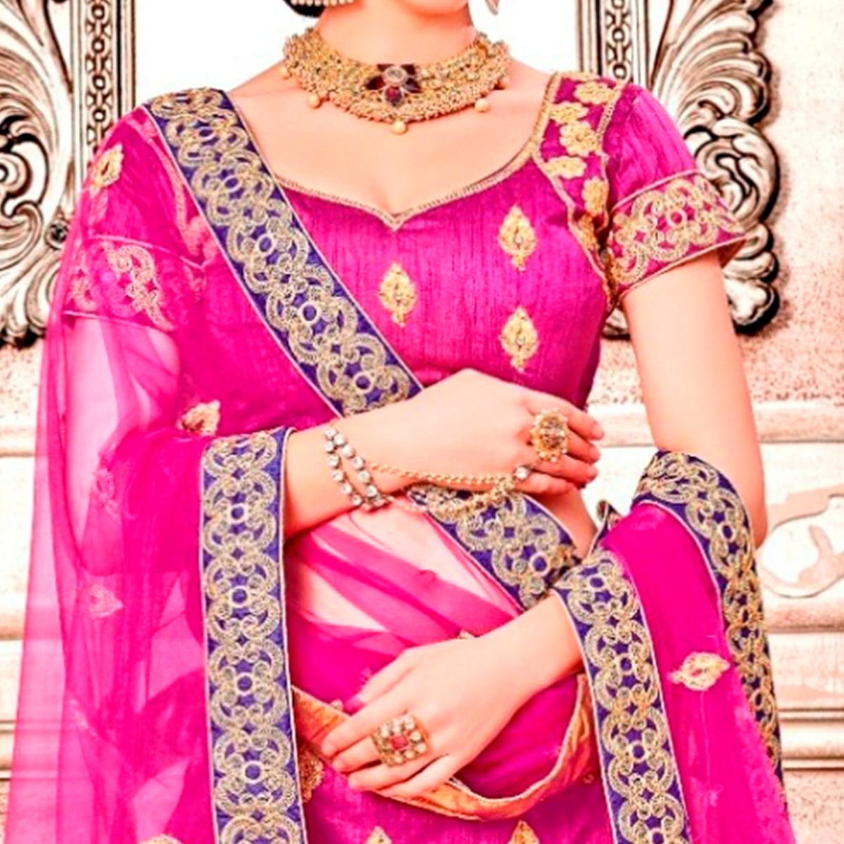 Desirable Pink Colored Partywear Embroidered Banglori Silk Lehenga Choli