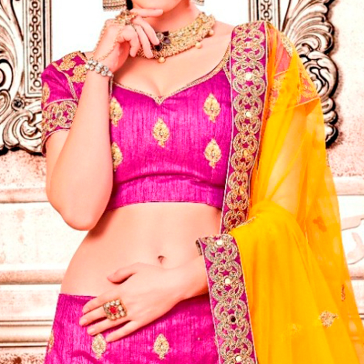 Blooming Pink Colored Partywear Embroidered Banglori Silk Lehenga Choli
